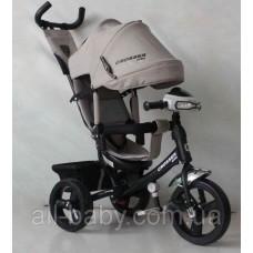 Велосипед детский трехколесный Azimut Trike Crosser One T1 ФАРА (надувные колёса) бежевый