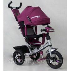 Велосипед детский трехколесный Azimut Trike Crosser One T1 ФАРА (надувные колёса) Violet