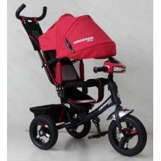 Велосипед детский трехколесный Azimut Trike Crosser One T1 ФАРА (надувные колёса) красный